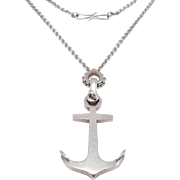 Knud Andersen Denmark 925s Nautical Anchor Pendant And Chain Modernist
