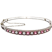 Victorian 9ct Rose Gold Seed Pearl Bangle Bracelet