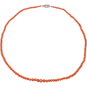 Antique Salmon Coral Beads Necklace 14k Clasp Graduated Pretty
