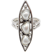 Arts And Crafts Sterling Blister Pearl Ring C. 1910