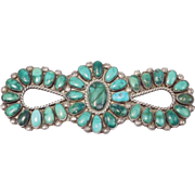 Ornate Zuni Maxine Yazzie Sterling Turquoise Brooch Large