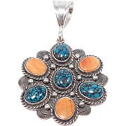 Beautiful Southwest Pendant Spiderweb Turquoise And Stampwork Silver