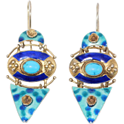 Modernist Figural Sterling Earrings Unique Screwback