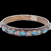 Navajo Silver & Stone Company Sterling Turquoise Bangle Bracelet