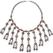 Very Old Unique Ethnic Tribal Silver Coral Filigree Necklace