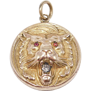 Antique Victorian Lion Locket Roaring With Stones High Relief Ornate