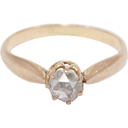 Old Mine Cut Diamond Ring In Rose Gold Victorian C. 1880