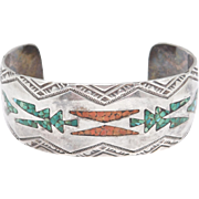 Old Silver Inlay Work Turquoise Stamped Cuff Bracelet