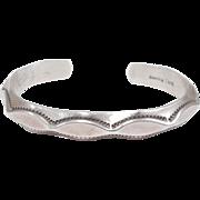 Vintage Navajo Tahe Sterling Silver Stampwork Cuff Bracelet
