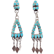 Vintage Turquoise Zuni Petit Point Drop Earrings Posts