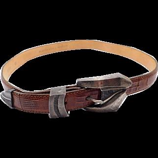 Heavy Sterling Silver Buckle Set Leather Belt Signed JM