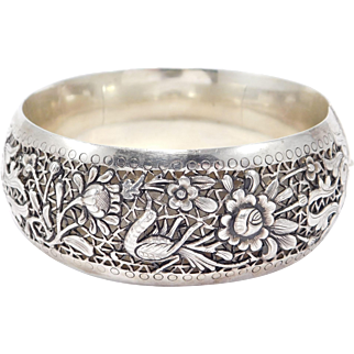 Ornate Pierced Silver Chinese Repousse Bangle Bracelet