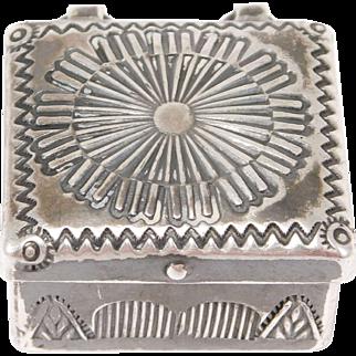 Old Ornate Silver Stampwork Navajo Pill Box Sterling