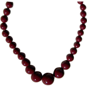 Vintage Cranberry Beaded Necklace ~  Gorgeously Graduated ~ Strung Superbly