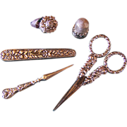 Antique SEWING TOOLS/ETUI ~ Antique Lady's Companion Sewing Set ~ Sterling Silver ~  English ~ Circa 1850's