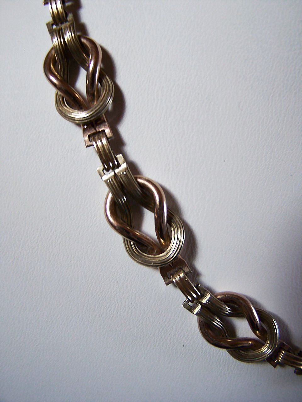 12K GF Love Knot NECKLACE ~ Unique Double Double-Link Chain  ~ Circa 1930's