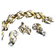 REDUCED ~ BSK PARURE Vintage High End Rhinestone Floral  Bracelet, Earrings, Pendant ~ Highly Collectible