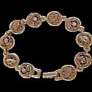 12KT GP GOLDETTE ~ NY  ~ Victorian Revival Antiqued Flowers & Leaves Pattern ~  12K GP Link Bracelet