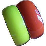 REDUCED ~~ BANGLEs ~ CLAMPER Pair ~ Vintage Wide Colorful Enamel Hinged Clamper Bracelets