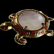 10KT GP TURTLE Brooch/Clip ~ Vintage Earthy Mother Of Pearl Turtle Brooch/Clip