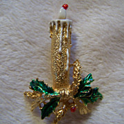 REDUCED ~ GERRY'S CHRISTMAS CANDLE ~ Vintage Holiday Candle Brooch With All The Trimmings