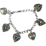 Puffy Heart Charm Bracelet ~ LAMPL & Others ~ Gorgeous Sterling Silver Hearts, Butterflies, Roses & Wedding Bells
