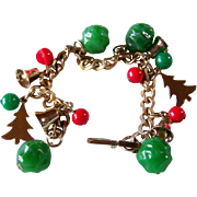 REDUCED ~ CHRISTMAS CHARM Bracelet ~ Vintage Bells, Christmas Trees, And Red & Green Holiday Trim