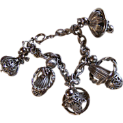 10KT White Gold Plated Charms ~ Vintage Funky Caged Filigree, Bell-Shaped Charm Bracelet ~ Beautiful Unusual Design