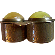 TRINKET ~ PILL BOX ~  Vintage, Twin Compartment Brass With Yellow EGG YOLK AMBER Cabochons