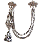 CHAINS & SWAG BROOCH With FOB ~ Handsome Sterling Silver Antique Victorian Elegance - Red Tag Sale Item