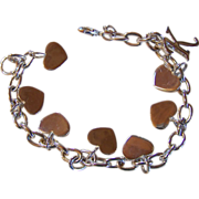 14KT White GoldPlated CHARM BRACELET With Heart ~ 7 Shiny Hearts & A *K*  ~  Terrific Vintage Condition
