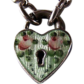 Puffy Heart  LAMPL GUILLOCHE PADLOCK Charm ~ Sterling Silver ~ Finest On The Market ~ Outlandishly Gorgeous !!