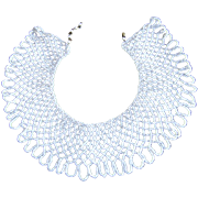 PRICE CUT ~ Vintage BEADED SHAWL COLLAR ~ NECKLACE ~ Iridescent White, Meticulously Crafted & In Superb Condition