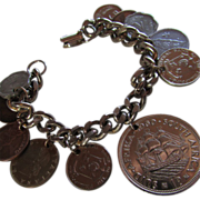 INTERNATIONAL COIN Bracelet  ~ Featuring Coins From The 1960-61 Era On A Handsome Coin Charm Bracelet