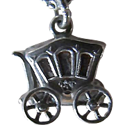 Sterling Silver 3-D Royal Carriage Or Coach CHARM ~ Movable Wheels ~ Circa 1940's