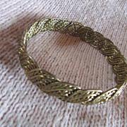 14K Gold Fill Over Sterling Silver BRAIDED BANGLE/Bracelet