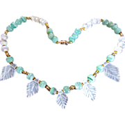 Jade/Jadeite ~ Vintage White & Green Translucent Jade Beads A La Gorgeous
