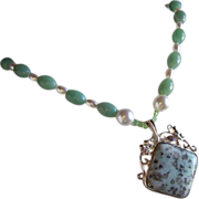 Opaque Mottled Light Green And Buff Jade Lavalier Necklace With So Much More ~ Vintage Treasure Galore !!