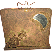 REDUCED AGAIN !! ANTIQUE ~~  1895 Carte de Visite ~~ CDV PHOTO ALBUM/WRITING DESK With Crescent-Shaped, Beveled Mirror W/ Brass Writing Accessories  ~~  Victorian Velvet & Brass Trimmed ~~ Top Of The Line Antique