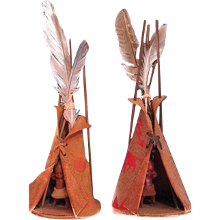 TEEPEE & BABY  ~~ Vintage Qualla Reservation, NC ~  Pair Of  Cherokee Leather TEEPEE & BABY