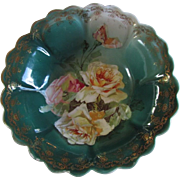 ROSES ~ Z.S.& Co Bavarian Dessert Bowl ~ Antique MIGNON Pattern  ~ Delicate Pink & White Hand Painted Roses ~ Circa 1880-1918