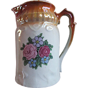 BAVARIAN Cream Pitcher ~ Copper Top Trim With Roses ~ Terrific Antique Condition