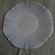 TWO American Sweetheart Monax White Opalescent Depression Glass Dinner Plates ~~ Such A Sweet, Sweet Pair !!