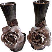 VEE JACKSON ~ Ombered Rose Vases ~ What A Blend Of Earth Tones ~ Perfection In Color, Design And Condition !!