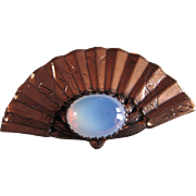 CORO ~~ Reticulated MOONSTONE FAN Brooch ~ Plated Brass In Superb Vintage Condition