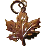 Maple Leaf Charm Complete With Veins ~ Oh Canada !! JSC Sterling Silver Charm, UnUsed, Shiny