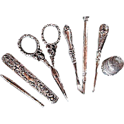 JENNEN & BITTRIDGE ~~ Victorian LADY'S COMPANION/Necessaire ~~ Sterling Silver Repousse Sewing Kit, Etui & Sewing Tools