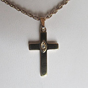 14KT Gold Plated Cross With Crystal Clear CZ Center Stone & Handsome Fine Double Link Chain ~~ New Old Stock