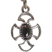 AVON  Baroness Collection ~~  Vintage Maltese Cross Pendant With Amber Glass Cabochon