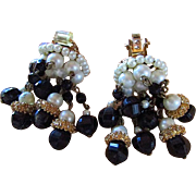 HOBE CHANDELIER BEAD Glamour EARRINGS !!  Beads Galore !! Exquisitely  Glamorous Clip On BEADED Drop Earrings That Are TO DIE FOR !!!